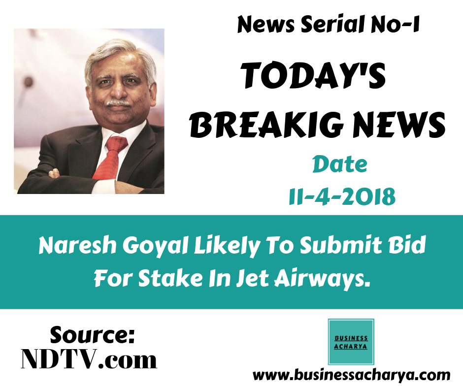 Naresh Goyal Likely To Submit Bid For Stake In Jet Airways.News Serial No-1 Date 11-4-2018 Source: NDTV.com #businessacharyanews #businessacharya #NareshGoyal #JetAirways