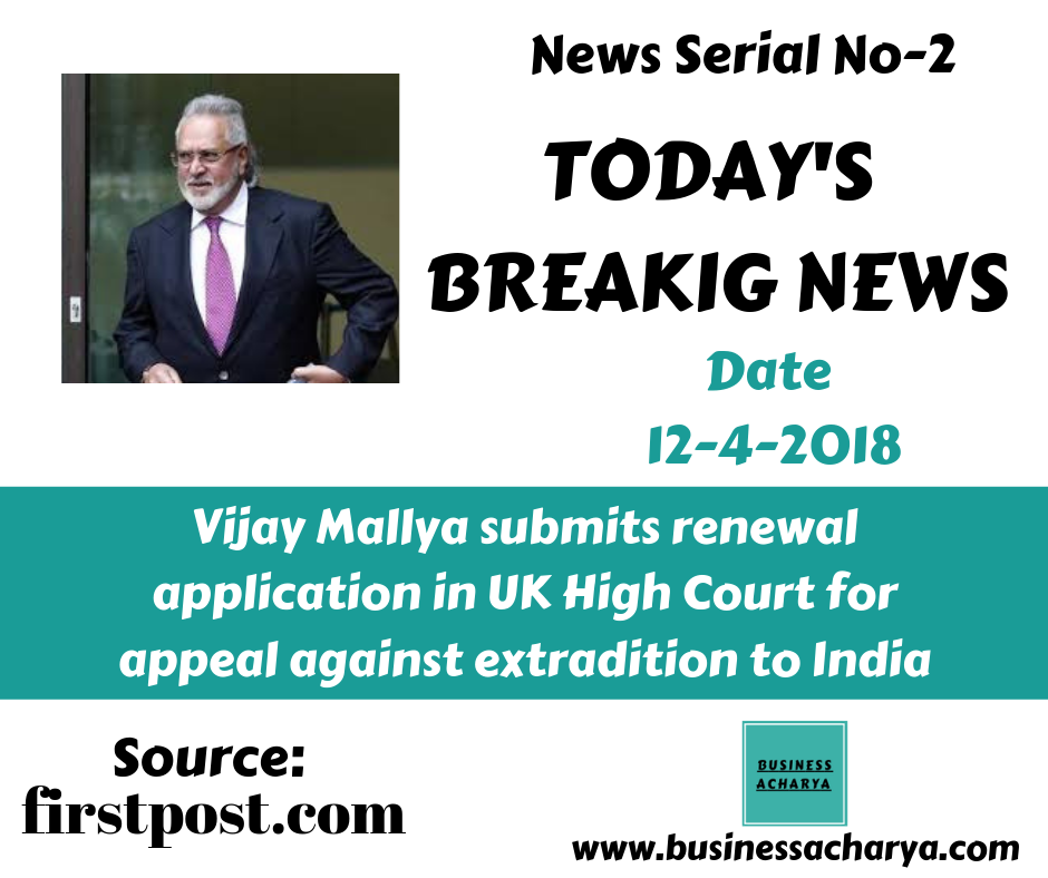 Vijay Mallya submits renewal application in UK High Court for appeal against extradition to India #BusinessAcharyNews #VijayMallya #India